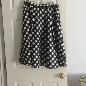 Talbots black and white check skirt